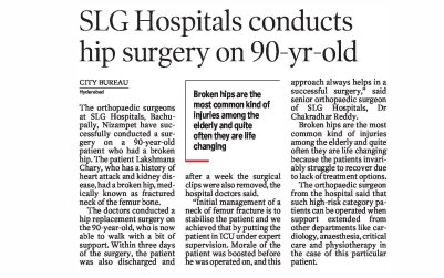 SLG Hospitals conducts hip surgery on 90-yr-old